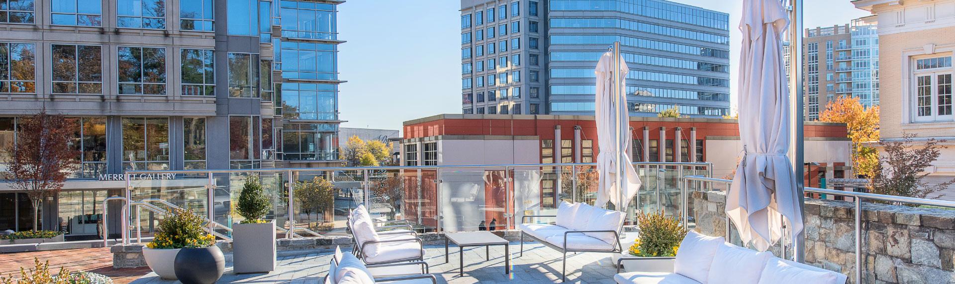Outdoor seating overlooking the Merritt Gallery